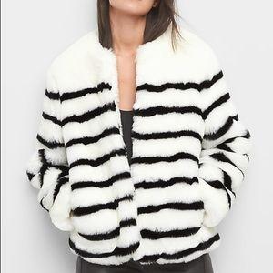 Gap Faux Fur Black/ White Stripe Jacket
